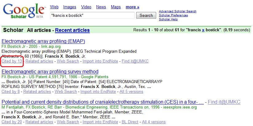 Google Scholar results screen